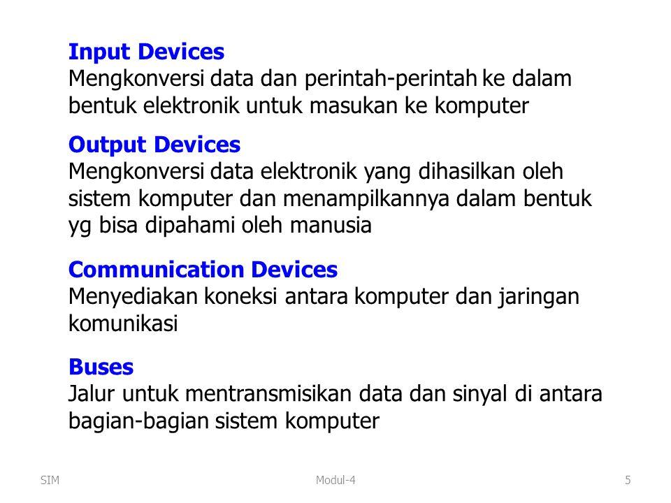 Modul-45 Input Devices Mengkonversi data dan perintah-perintah ke dalam bentuk elektronik untuk masukan ke komputer Output Devices Mengkonversi data e