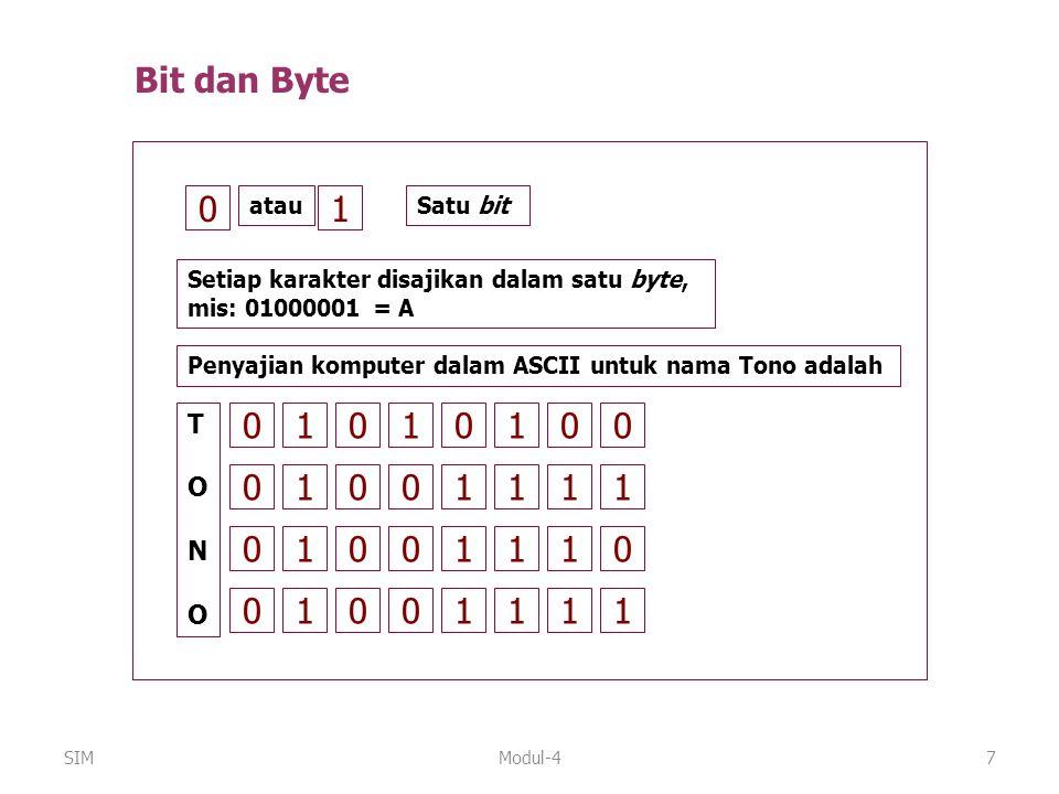 Modul-47 0 atau 1 Setiap karakter disajikan dalam satu byte, mis: 01000001 = A Satu bit 01 TONOTONO 010100 01001111 01001110 01001111 Penyajian komput
