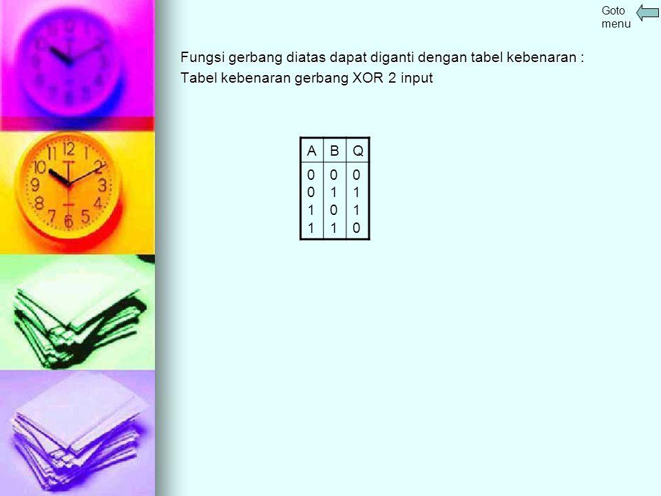 Fungsi gerbang diatas dapat diganti dengan tabel kebenaran : Tabel kebenaran gerbang XOR 2 input ABQ 00110011 01010101 01100110 Goto menu