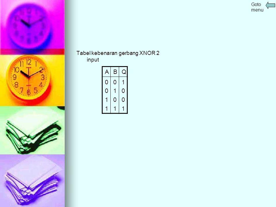 Tabel kebenaran gerbang XNOR 2 input ABQ 001101011001 Goto menu