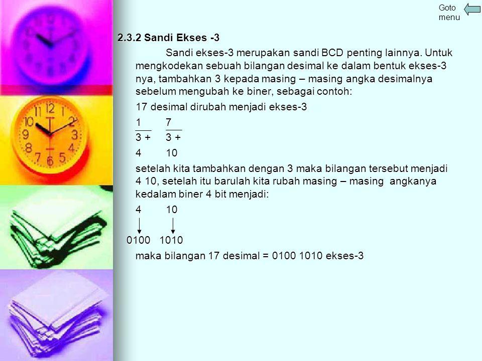 2.3.2 Sandi Ekses -3 Sandi ekses-3 merupakan sandi BCD penting lainnya. Untuk mengkodekan sebuah bilangan desimal ke dalam bentuk ekses-3 nya, tambahk