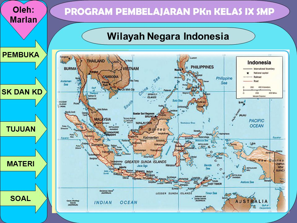 PROGRAM PEMBELAJARAN PKn KELAS IX SMP Oleh: Marlan PEMBUKA SK DAN KD TUJUAN MATERI SOAL Wilayah Negara Indonesia