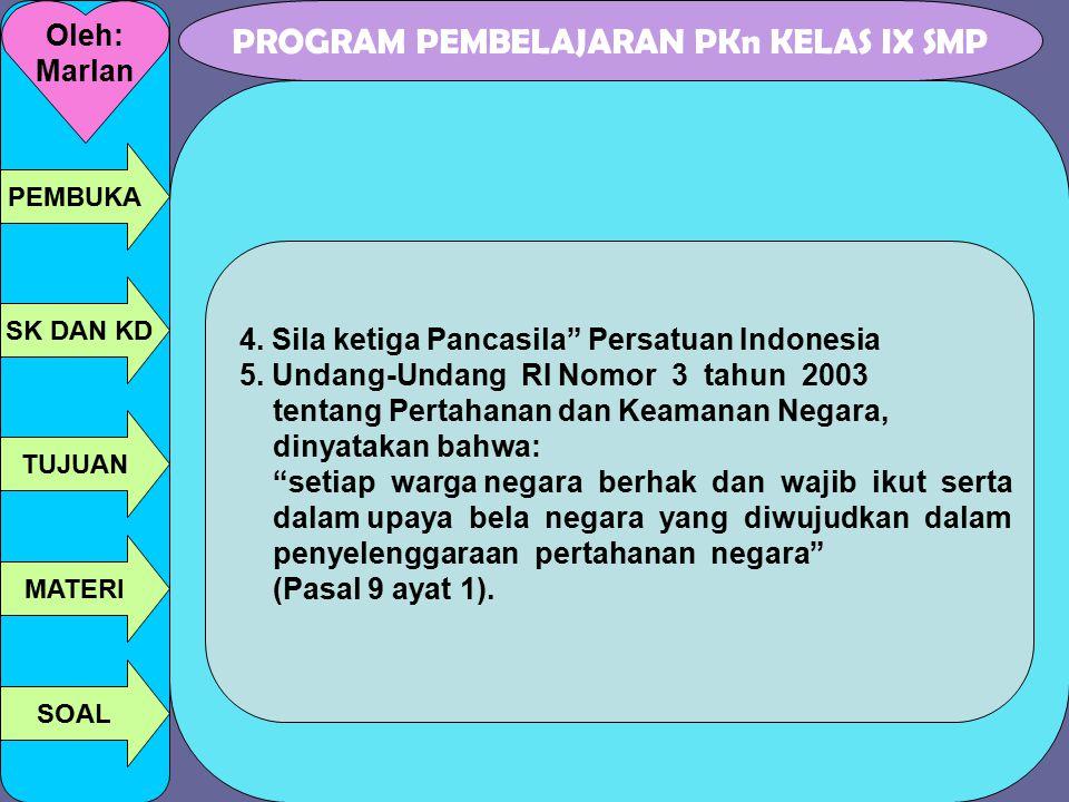 "PROGRAM PEMBELAJARAN PKn KELAS IX SMP Oleh: Marlan PEMBUKA SK DAN KD TUJUAN MATERI SOAL 4. Sila ketiga Pancasila"" Persatuan Indonesia 5. Undang-Undang"