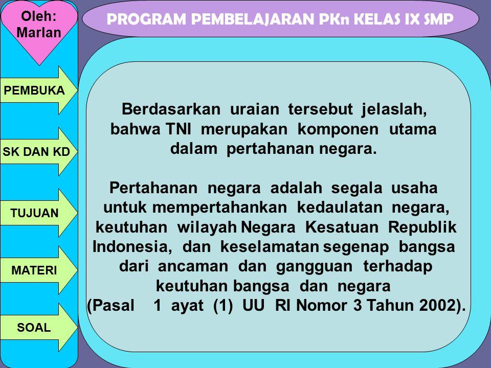 PROGRAM PEMBELAJARAN PKn KELAS IX SMP Oleh: Marlan PEMBUKA SK DAN KD TUJUAN MATERI SOAL Berdasarkan uraian tersebut jelaslah, bahwa TNI merupakan komp