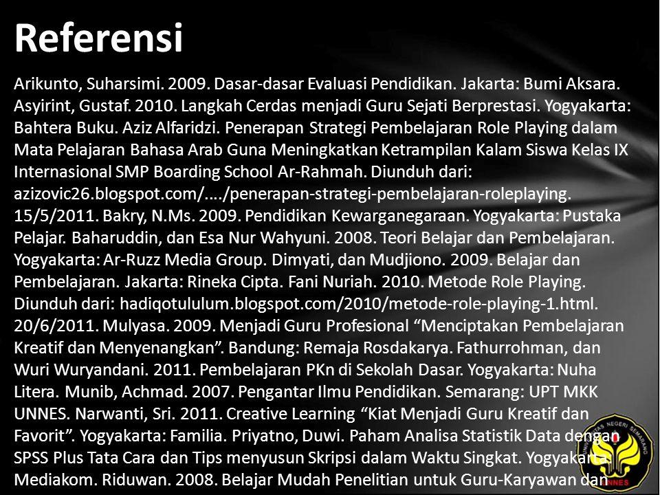 Referensi Arikunto, Suharsimi. 2009. Dasar-dasar Evaluasi Pendidikan. Jakarta: Bumi Aksara. Asyirint, Gustaf. 2010. Langkah Cerdas menjadi Guru Sejati