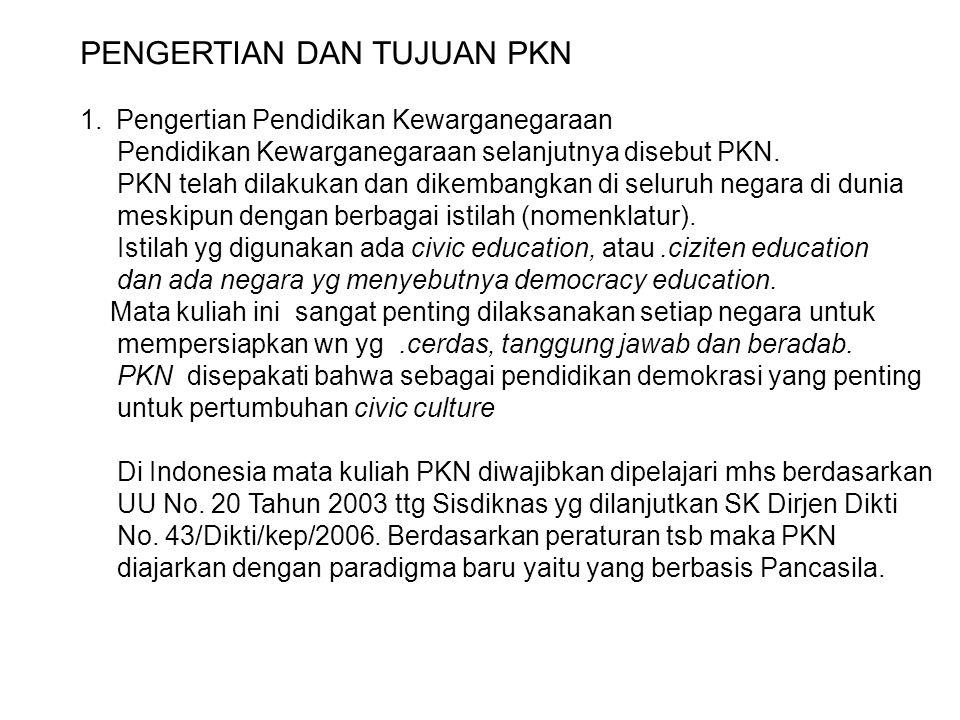 PENGERTIAN DAN TUJUAN PKN 1.Pengertian Pendidikan Kewarganegaraan Pendidikan Kewarganegaraan selanjutnya disebut PKN. PKN telah dilakukan dan dikemban