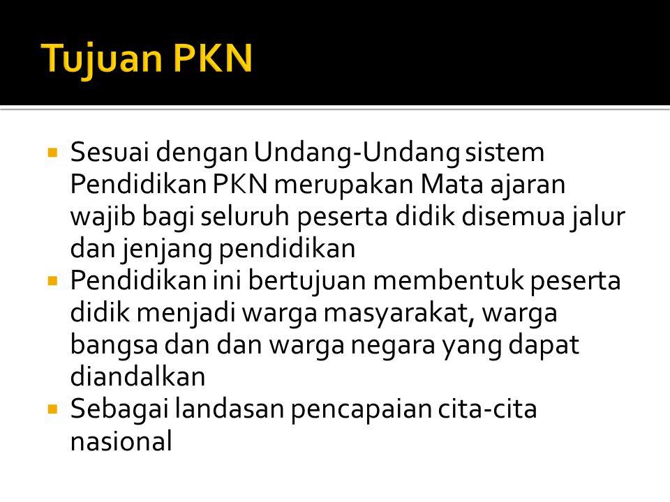  Mata kuliah PKN merupakan salah satu komponen yang tidak dapat dipisahkan dari kelompok Mata kuliah Pengembangan Kepribadian (MKPK) dalam susunan kurikulum di Pendidikan Tinggi di Indonesia  MK adalah mata kuliah wajib diselenggarakan di Pendidikan Tinggi dan wajib diikuti oleh setiap mahasiswa untuk program diploma, politeknik dan program sarjana.
