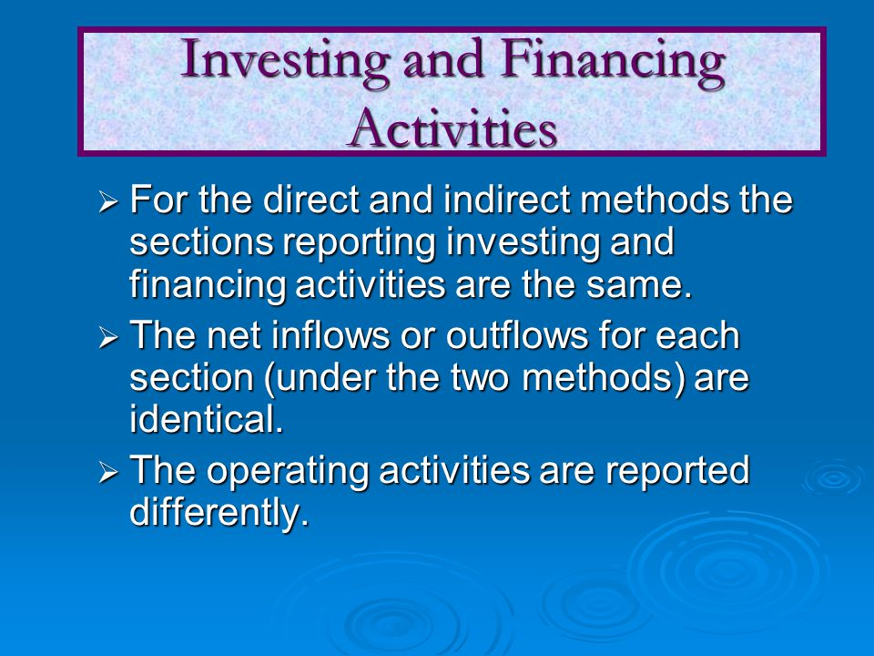  For the direct and indirect methods the sections reporting investing and financing activities are the same.