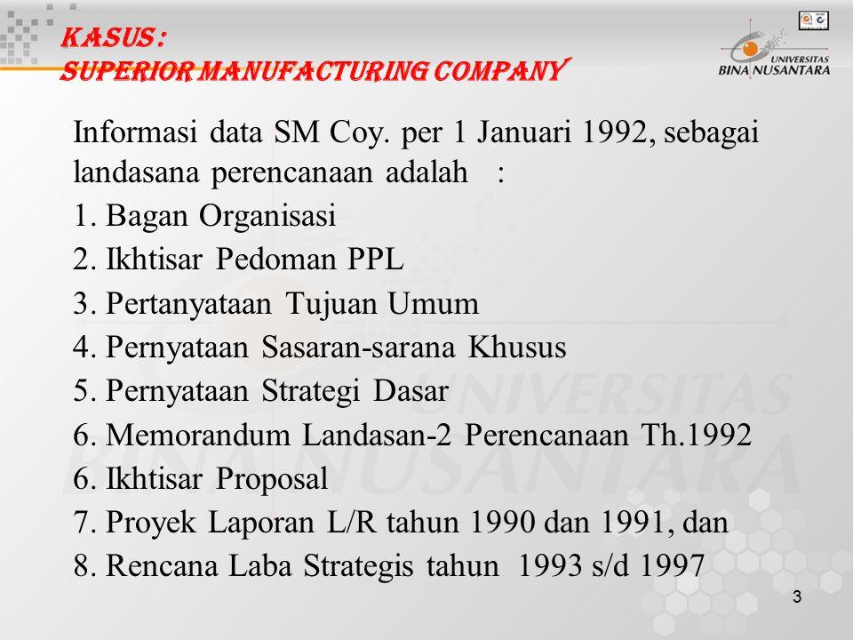 3 Kasus : Superior Manufacturing Company Informasi data SM Coy. per 1 Januari 1992, sebagai landasana perencanaan adalah : 1. Bagan Organisasi 2. Ikht