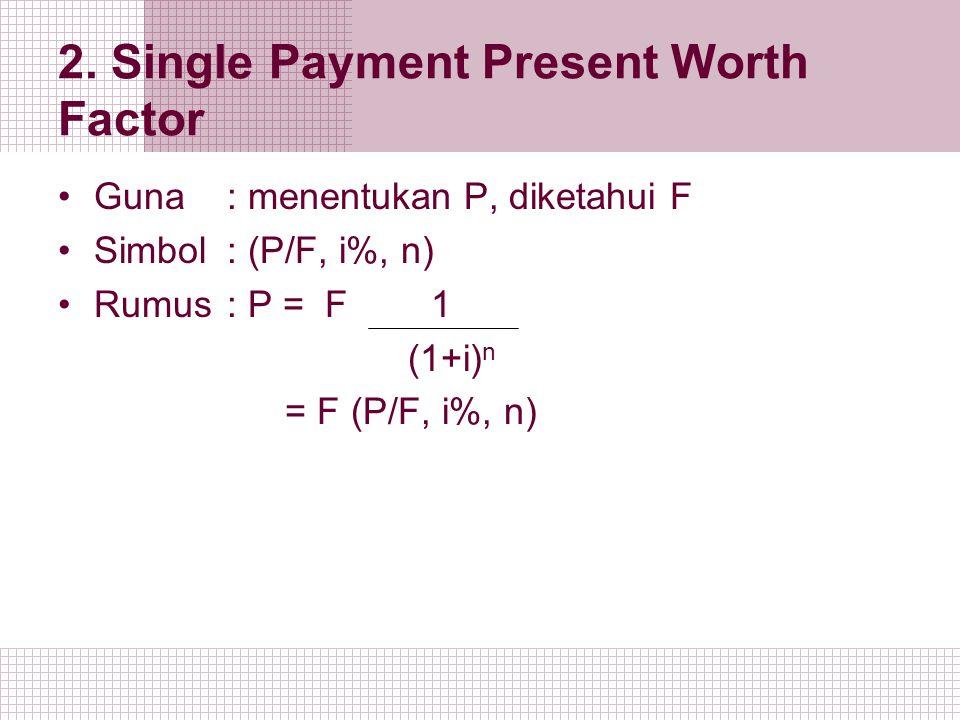 2. Single Payment Present Worth Factor Guna : menentukan P, diketahui F Simbol: (P/F, i%, n) Rumus: P = F 1 (1+i) n = F (P/F, i%, n)