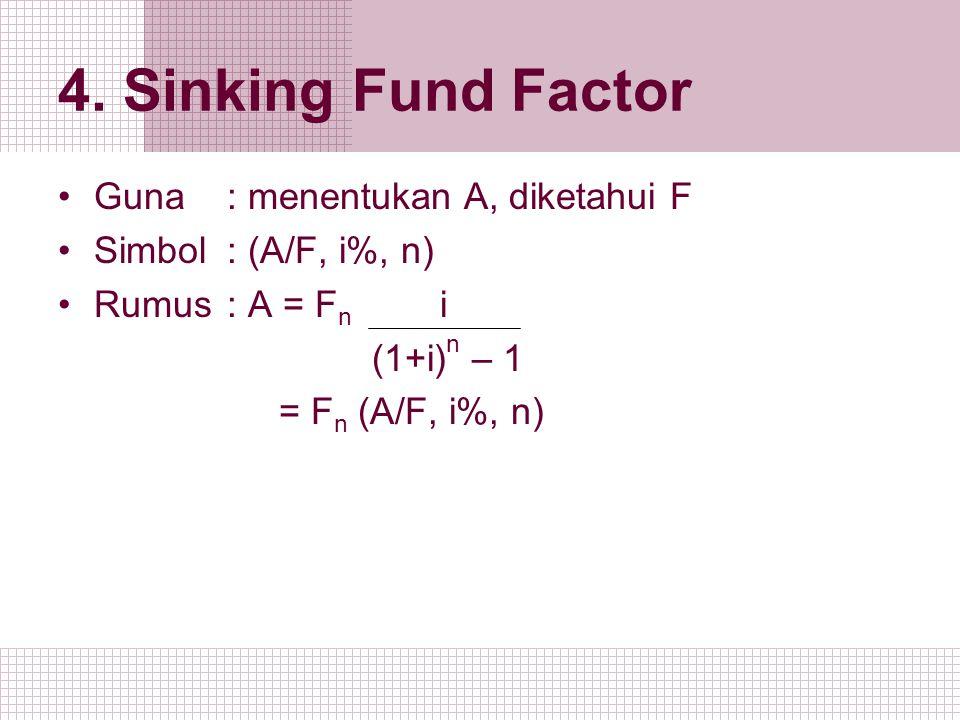 4. Sinking Fund Factor Guna : menentukan A, diketahui F Simbol: (A/F, i%, n) Rumus: A = F n i (1+i) n – 1 = F n (A/F, i%, n)