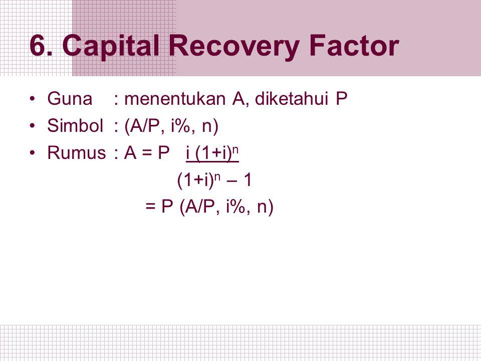 6. Capital Recovery Factor Guna : menentukan A, diketahui P Simbol: (A/P, i%, n) Rumus: A = P i (1+i) n (1+i) n – 1 = P (A/P, i%, n)