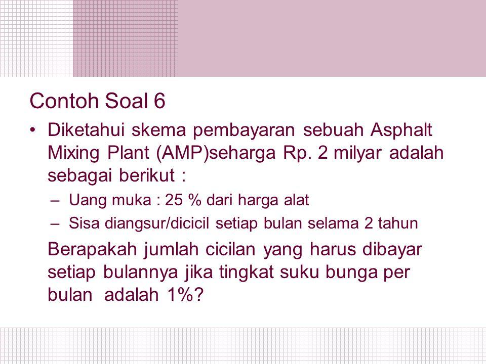 Contoh Soal 6 Diketahui skema pembayaran sebuah Asphalt Mixing Plant (AMP)seharga Rp. 2 milyar adalah sebagai berikut : –Uang muka : 25 % dari harga a