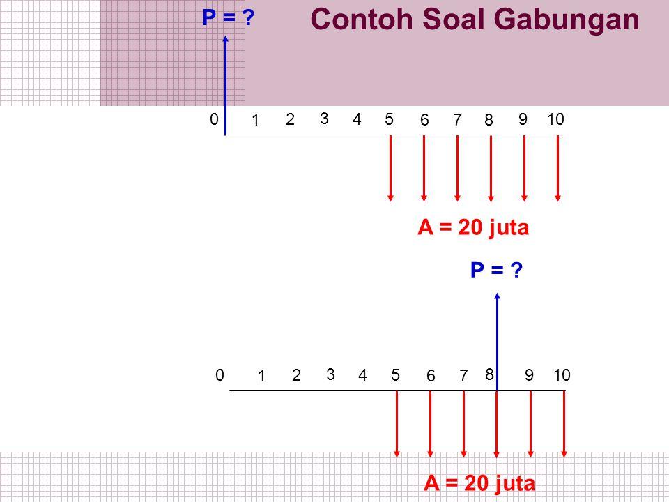 Contoh Soal Gabungan 1 2 0 3 5 4 6 7 9 10 A = 20 juta P = ? 8 1 2 0 3 5 4 6 7 9 10 A = 20 juta P = ? 8