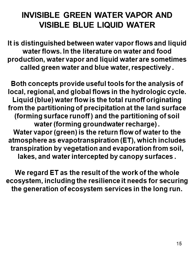 15 INVISIBLE GREEN WATER VAPOR AND VISIBLE BLUE LIQUID WATER It is distinguished between water vapor flows and liquid water flows.