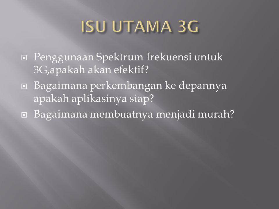  Penggunaan Spektrum frekuensi untuk 3G,apakah akan efektif.