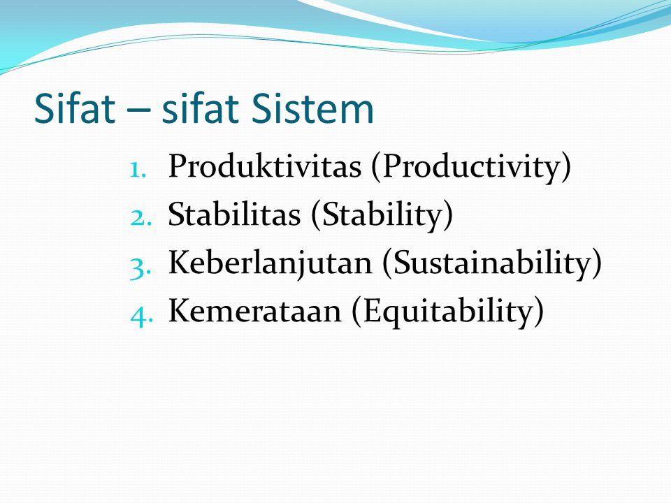Sifat – sifat Sistem 1. Produktivitas (Productivity) 2. Stabilitas (Stability) 3. Keberlanjutan (Sustainability) 4. Kemerataan (Equitability)
