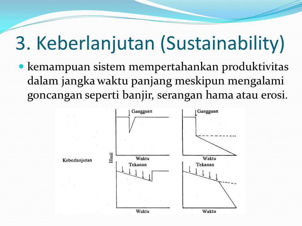 3. Keberlanjutan (Sustainability) kemampuan sistem mempertahankan produktivitas dalam jangka waktu panjang meskipun mengalami goncangan seperti banjir