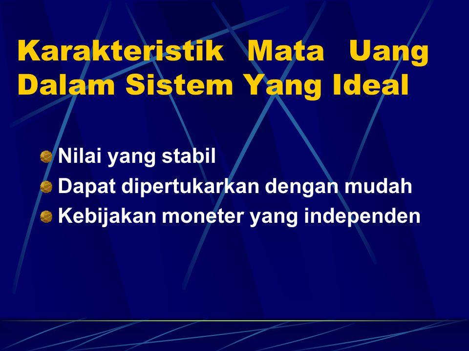 Karakteristik Mata Uang Dalam Sistem Yang Ideal Nilai yang stabil Dapat dipertukarkan dengan mudah Kebijakan moneter yang independen