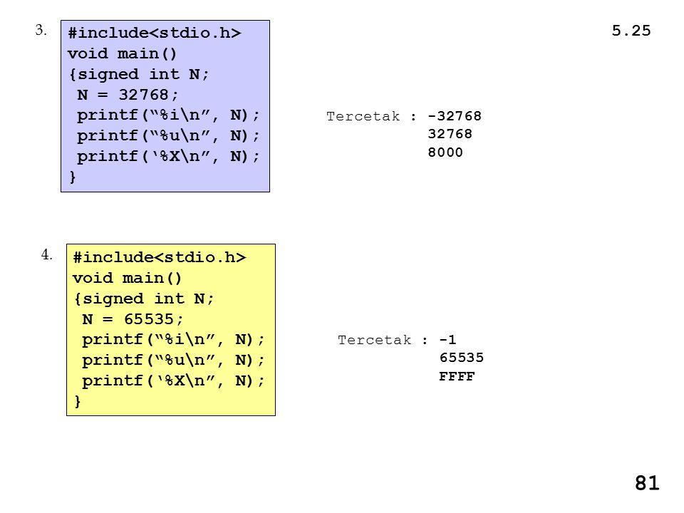 Tercetak : -32768 32768 8000 #include void main() {signed int N; N = 32768; printf( %i\n , N); printf( %u\n , N); printf('%X\n , N); } 3.