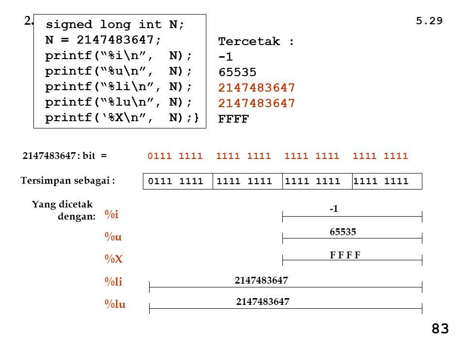 5.29 83 Tercetak : 65535 2147483647 FFFF signed long int N; N = 2147483647; printf( %i\n , N); printf( %u\n , N); printf( %li\n , N); printf( %lu\n , N); printf('%X\n , N);} 2.