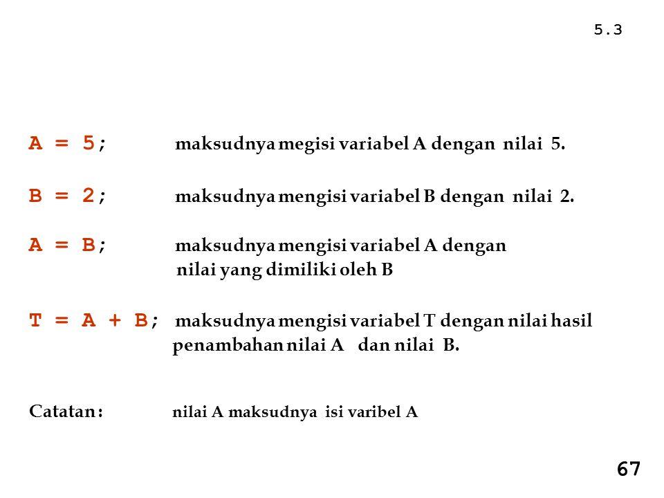 5.3 A = 5; maksudnya megisi variabel A dengan nilai 5.