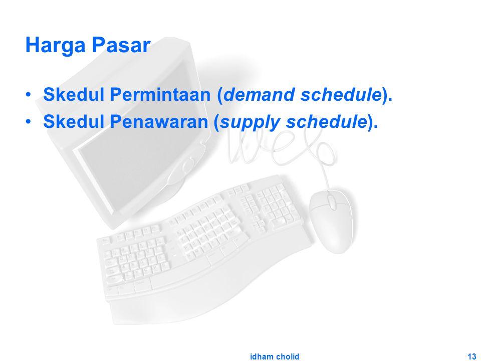 13 Harga Pasar Skedul Permintaan (demand schedule). Skedul Penawaran (supply schedule). idham cholid