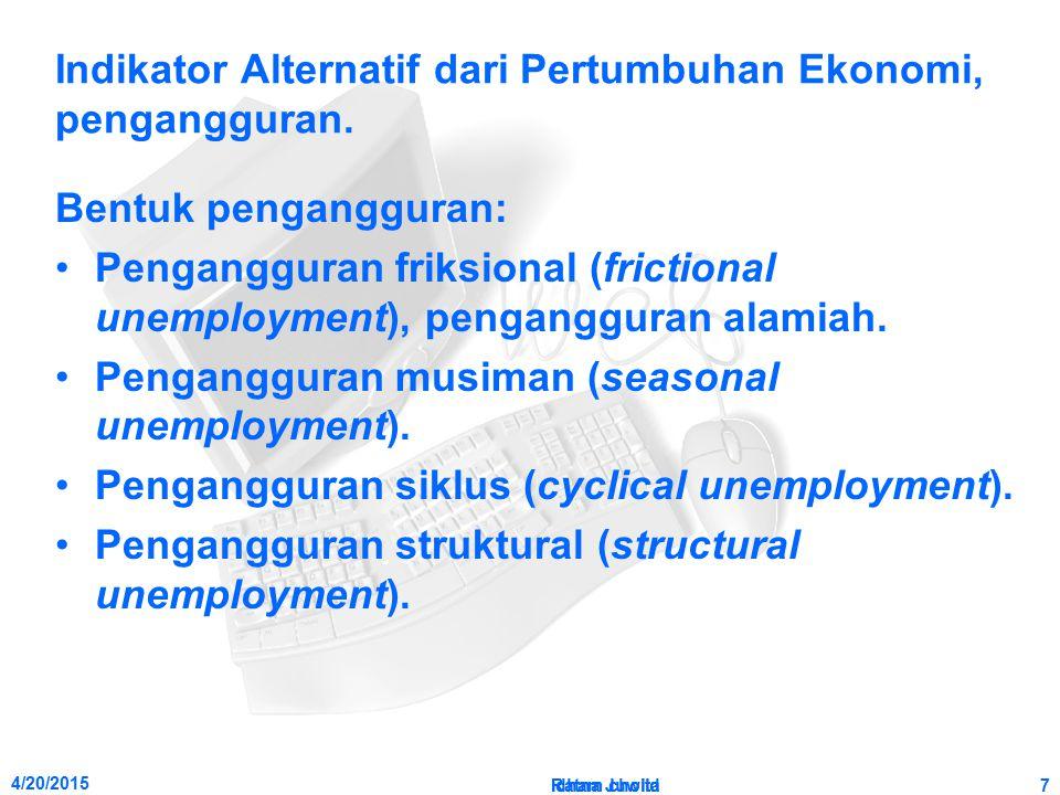 4/20/2015 Ratna Juwita7 Indikator Alternatif dari Pertumbuhan Ekonomi, pengangguran. Bentuk pengangguran: Pengangguran friksional (frictional unemploy