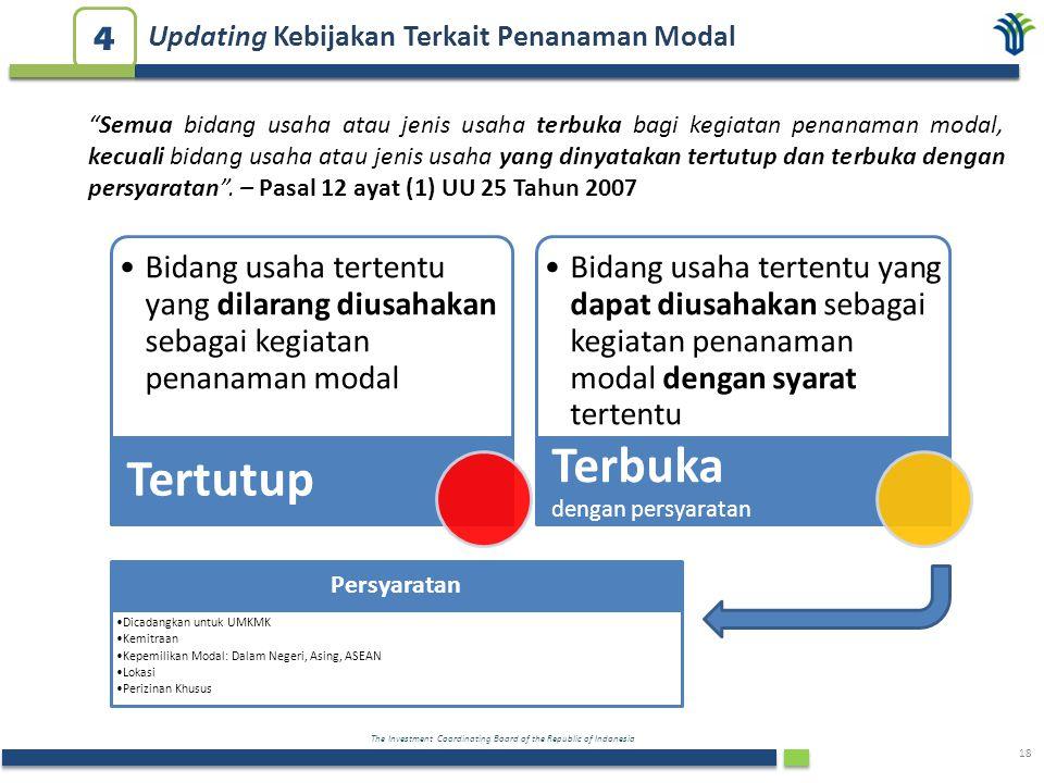 The Investment Coordinating Board of the Republic of Indonesia 18 Bidang usaha tertentu yang dilarang diusahakan sebagai kegiatan penanaman modal Tert