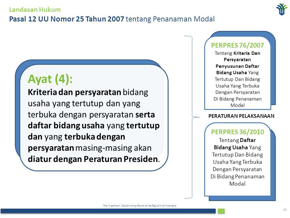 The Investment Coordinating Board of the Republic of Indonesia 19 Landasan Hukum Pasal 12 UU Nomor 25 Tahun 2007 tentang Penanaman Modal Ayat (4): Kri