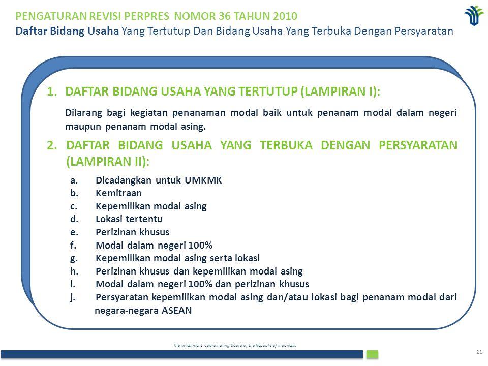 The Investment Coordinating Board of the Republic of Indonesia 21 PENGATURAN REVISI PERPRES NOMOR 36 TAHUN 2010 Daftar Bidang Usaha Yang Tertutup Dan