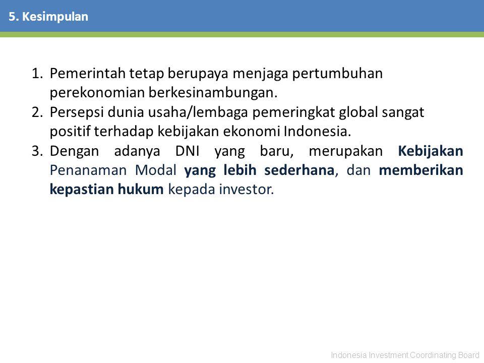 Indonesia Investment Coordinating Board 5. Kesimpulan 1.Pemerintah tetap berupaya menjaga pertumbuhan perekonomian berkesinambungan. 2.Persepsi dunia