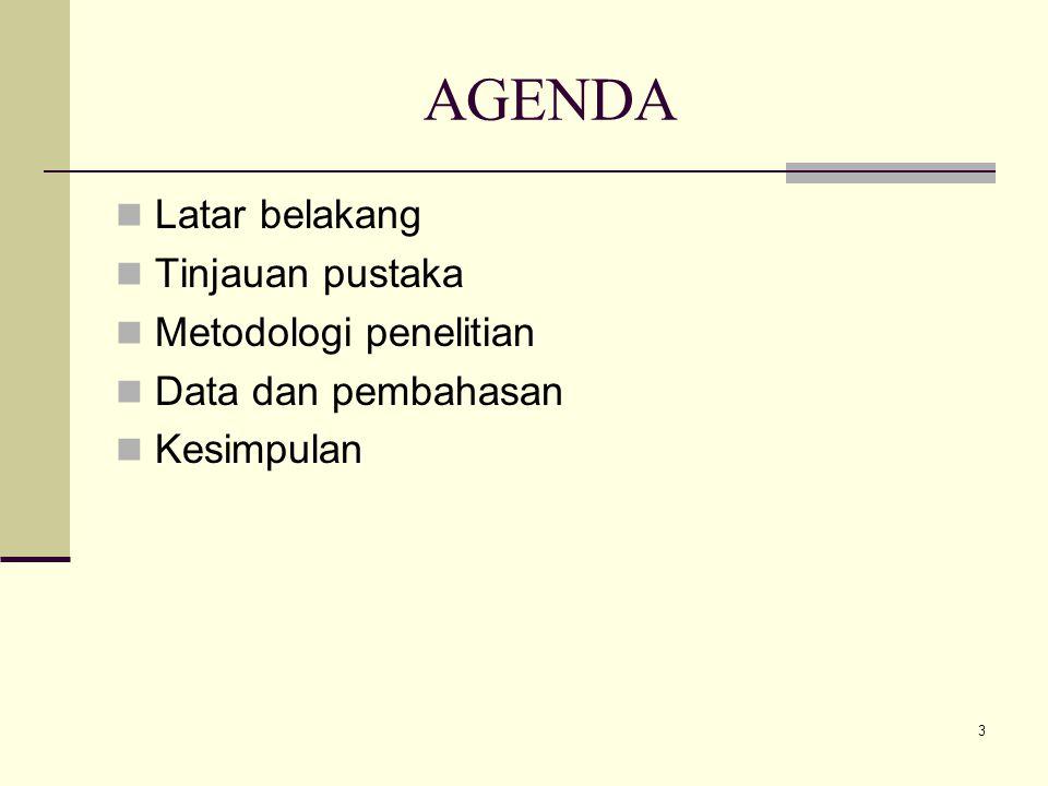 3 AGENDA Latar belakang Tinjauan pustaka Metodologi penelitian Data dan pembahasan Kesimpulan
