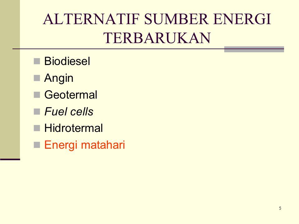 5 ALTERNATIF SUMBER ENERGI TERBARUKAN Biodiesel Angin Geotermal Fuel cells Hidrotermal Energi matahari