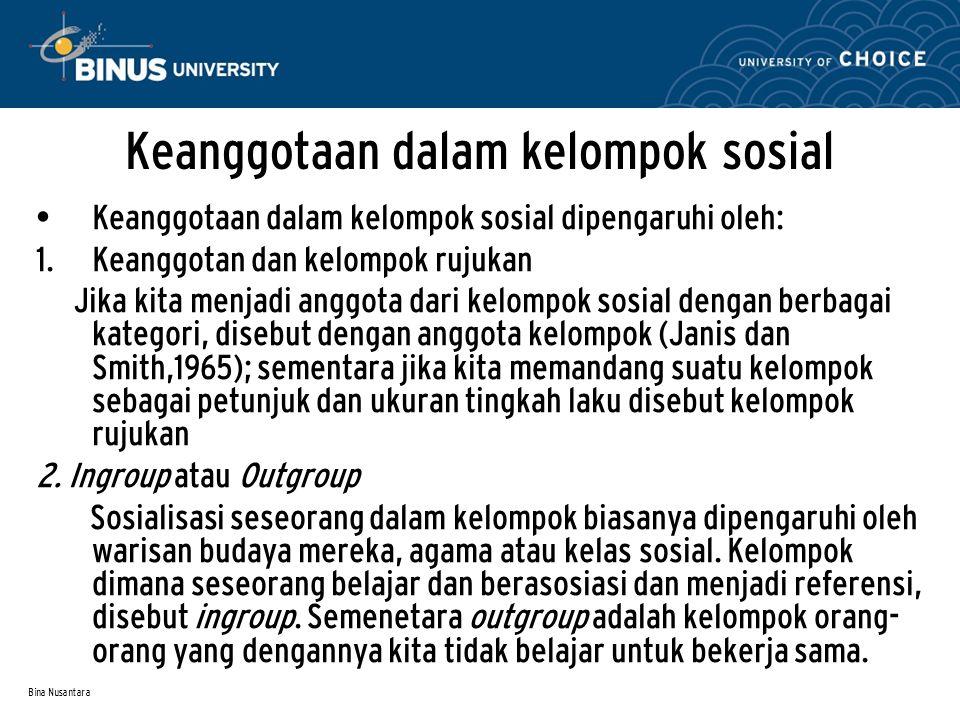 Bina Nusantara Keanggotaan dalam kelompok sosial Keanggotaan dalam kelompok sosial dipengaruhi oleh:  Keanggotan dan kelompok rujukan Jika kita menj