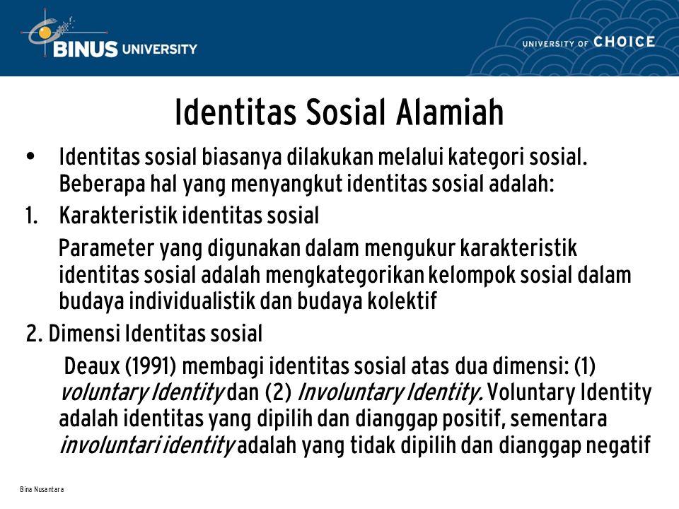 Bina Nusantara Identitas Sosial Alamiah Identitas sosial biasanya dilakukan melalui kategori sosial. Beberapa hal yang menyangkut identitas sosial ada