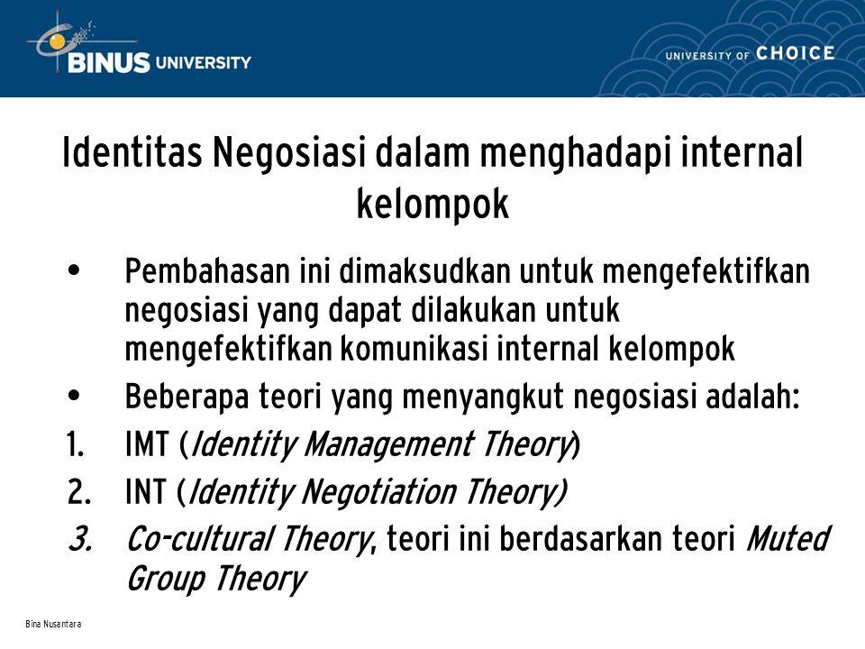 Bina Nusantara Identitas Negosiasi dalam menghadapi internal kelompok Pembahasan ini dimaksudkan untuk mengefektifkan negosiasi yang dapat dilakukan u
