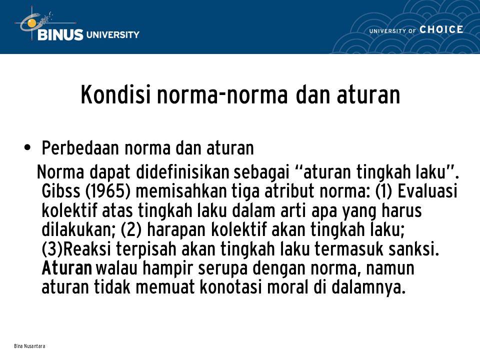 """Bina Nusantara Kondisi norma-norma dan aturan Perbedaan norma dan aturan Norma dapat didefinisikan sebagai """"aturan tingkah laku"""". Gibss (1965) memisah"""