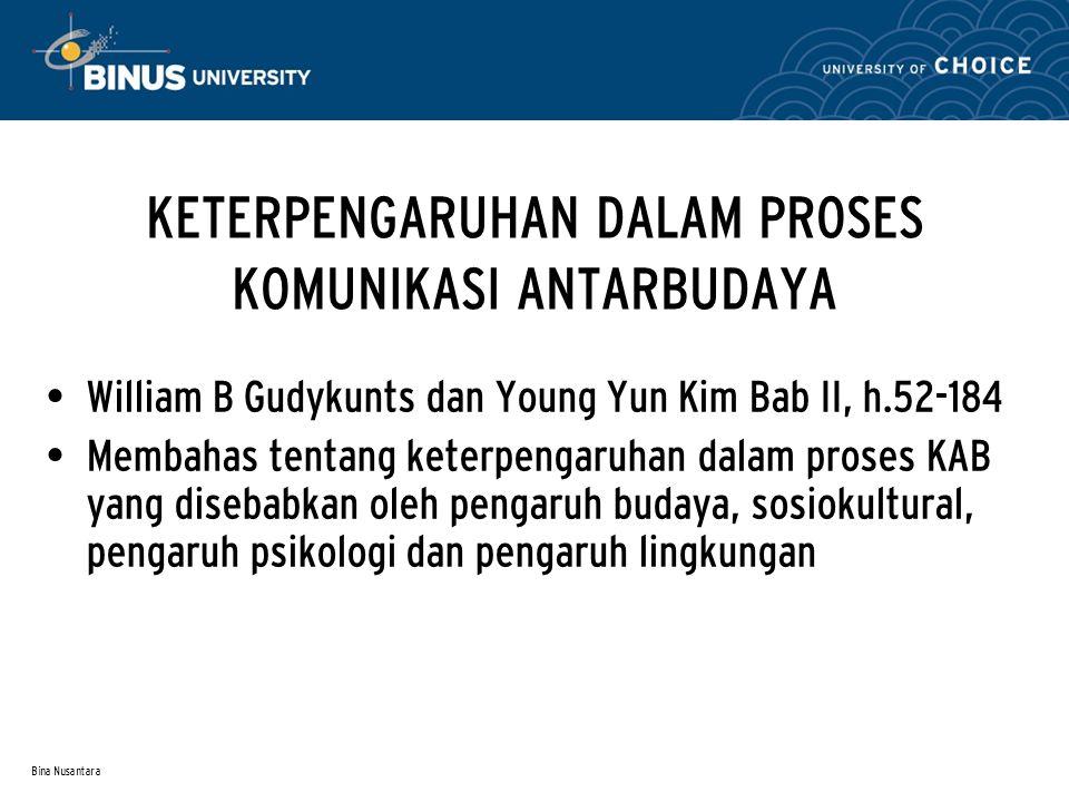 Bina Nusantara KETERPENGARUHAN DALAM PROSES KOMUNIKASI ANTARBUDAYA William B Gudykunts dan Young Yun Kim Bab II, h.52-184 Membahas tentang keterpengar
