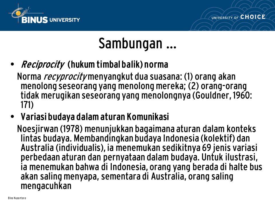 Bina Nusantara Sambungan … Reciprocity (hukum timbal balik) norma Norma recyprocity menyangkut dua suasana: (1) orang akan menolong seseorang yang men