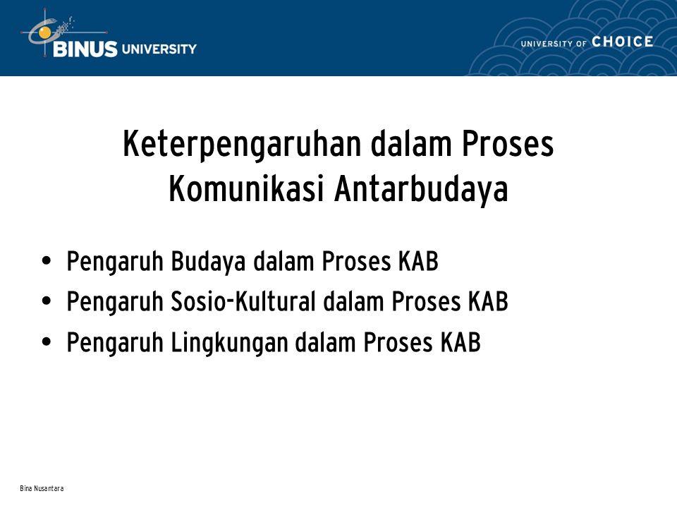 Bina Nusantara Keterpengaruhan dalam Proses Komunikasi Antarbudaya Pengaruh Budaya dalam Proses KAB Pengaruh Sosio-Kultural dalam Proses KAB Pengaruh