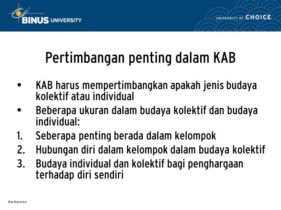 Bina Nusantara Pertimbangan penting dalam KAB KAB harus mempertimbangkan apakah jenis budaya kolektif atau individual Beberapa ukuran dalam budaya kol