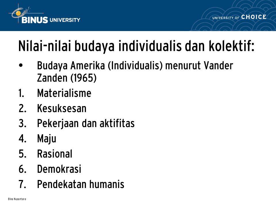 Bina Nusantara Nilai-nilai budaya individualis dan kolektif: Budaya Amerika (Individualis) menurut Vander Zanden (1965)  Materialisme  Kesuksesan