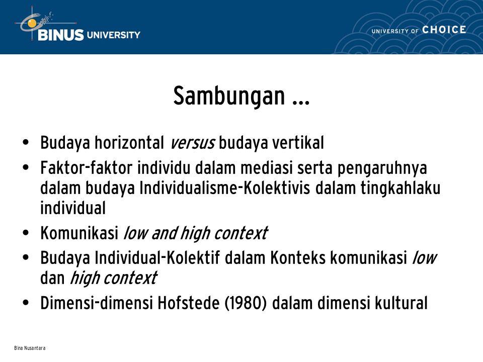 Bina Nusantara Sambungan … Budaya horizontal versus budaya vertikal Faktor-faktor individu dalam mediasi serta pengaruhnya dalam budaya Individualisme