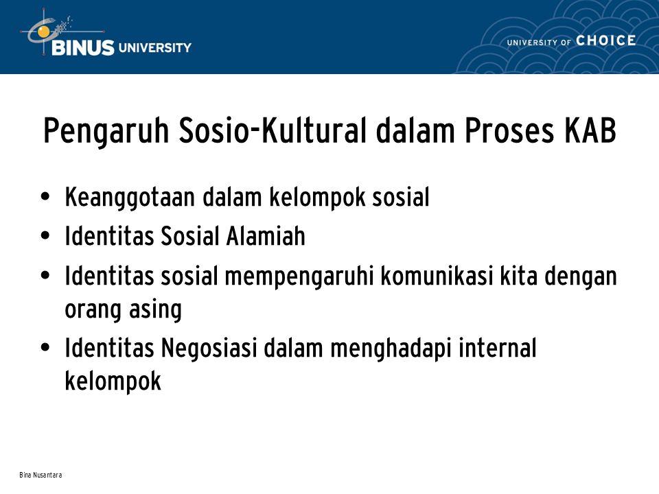 Bina Nusantara Pengaruh Sosio-Kultural dalam Proses KAB Keanggotaan dalam kelompok sosial Identitas Sosial Alamiah Identitas sosial mempengaruhi komun