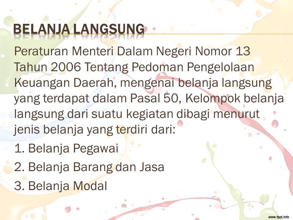 Peraturan Menteri Dalam Negeri Nomor 13 Tahun 2006 Tentang Pedoman Pengelolaan Keuangan Daerah, mengenai belanja langsung yang terdapat dalam Pasal 50