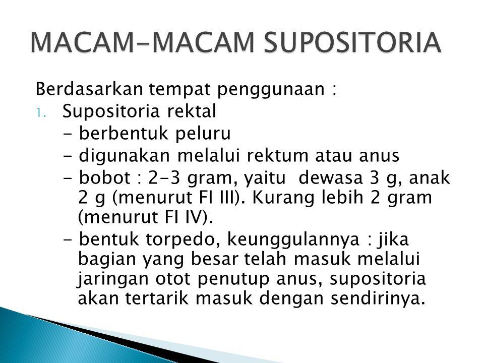 Berdasarkan tempat penggunaan : 1. Supositoria rektal - berbentuk peluru - digunakan melalui rektum atau anus - bobot : 2-3 gram, yaitu dewasa 3 g, an