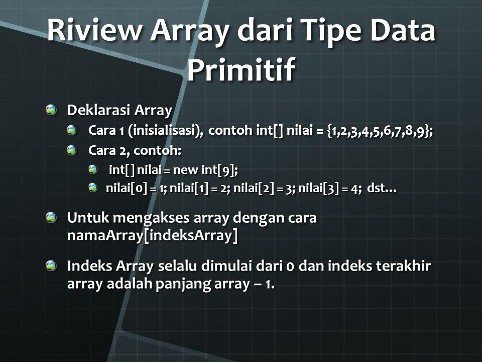 Deklarasi Array dari Objek Misal telah ada klas Pegawai Deklarasi Array Objek dari klas Pegawai : Pegawai[] p = new Pegawai[5]; Berarti dibuat variabel array dengan nama p yang panjangnya 5 (bisa memiliki 5 elemen array, dengan indeks 0-4), dimana masing-masing elemen dari array p bisa menyimpan nilai berupa objek dari klas Pegawai