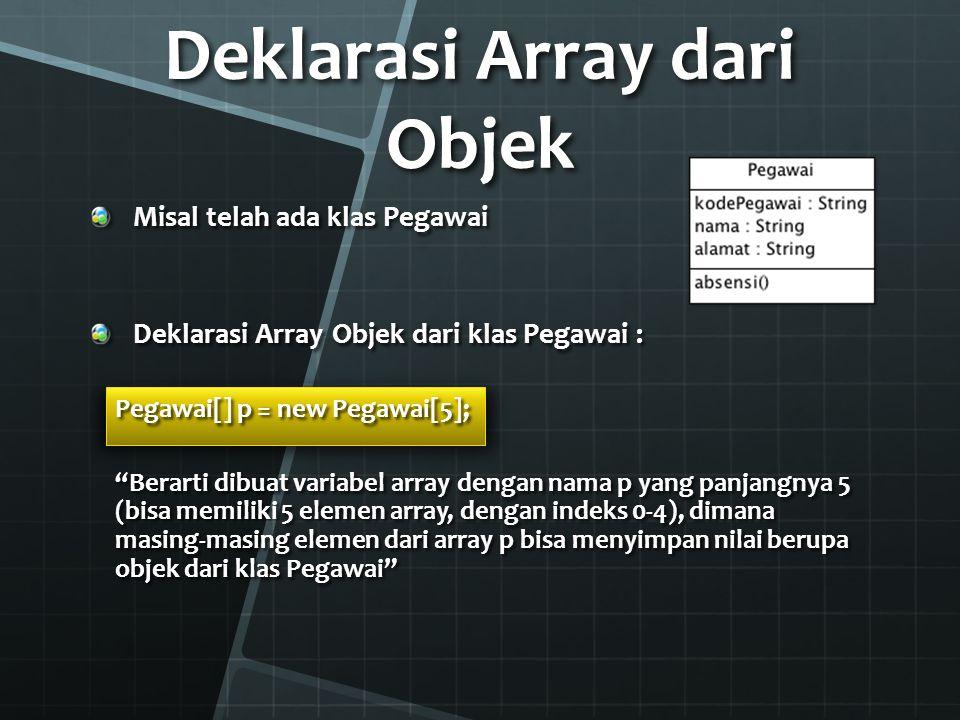Mengisi Elemen Array of Object Caranya mirip dengan array dari tipedata primitif Bedanya, pada Array of Object nilai yang dimasukkan ke dalam elemen Array adalah OBJEK DARI KLAS yang bersangkutan Contoh, dari variabel array p di slide seelumnya: p[0] = new Pegawai(); p[1] = new Pegawai( P001 , Sule , Jakarta ); Atau bisa juga Pegawai peg = new Pegawai(); p[2] = peg; p[2] = peg;
