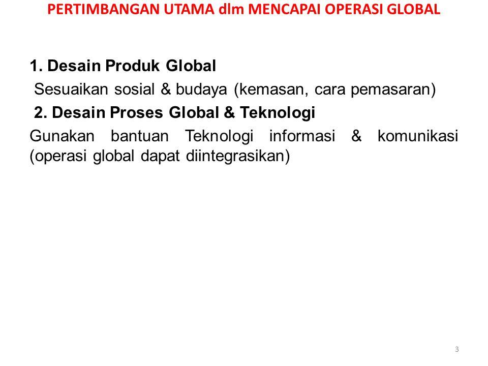 PERTIMBANGAN UTAMA dlm MENCAPAI OPERASI GLOBAL 1. Desain Produk Global Sesuaikan sosial & budaya (kemasan, cara pemasaran) 2. Desain Proses Global & T